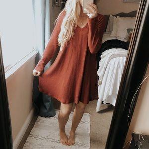 Alya Berry Waffle Knit Cold Shoulder Dress